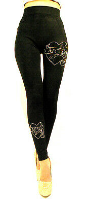 Slim Leggings Treggings Hochbund Bauchweg Leggings Strass Optik Leggins Gr 36-42
