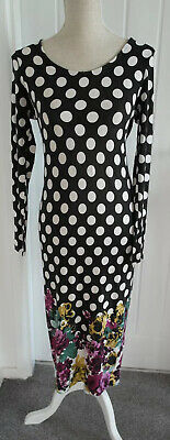 Asos Maternity Long Sleeve Black/White Spotted Dress With Floral Pattern Size 12