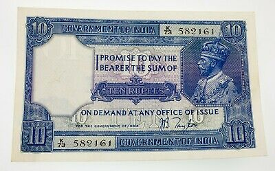 Government of India 10 Rupees No Date Cancellation Pick #7b VF - XF Condition