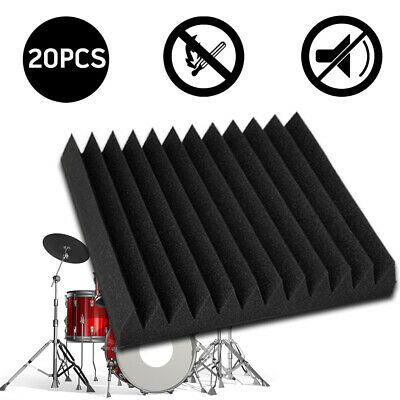 20x Studio Acoustic Foam Panel Tiles Sound Absorbtion Proofing Wedge 30X30CM
