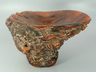 Chinese Exquisite Hand carved flower Carving OX horn cup