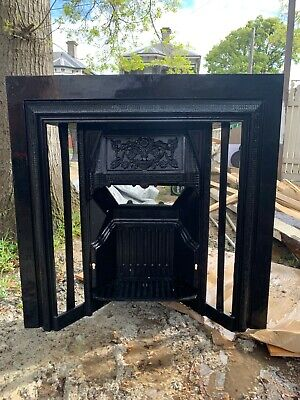 Edwardian Cast Iron Fire Place with intricate floral detailing