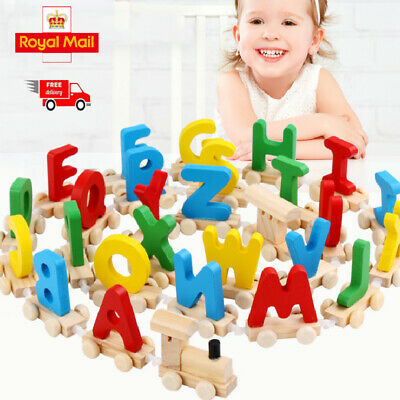 Personalized Kids WOODEN TRAIN LETTERS Scrabble Child Baby Name Toy Gift New