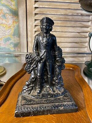 Antique Vintage Cast Iron Captain Figural Decorative Doorstop 21cm High