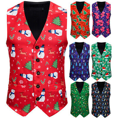 Christmas Vest Slim Fit Casual Waistcoats For Men Male Holiday clothes AU