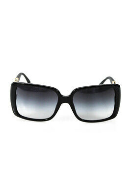 Chanel Womens 5208-Q Chain Link Square Sunglasses Black Leather Plastic Italy