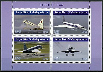 Madagascar 2019 CTO Tupolev Tu-144 Supersonic Aircraft 4v M/S Aviation Stamps