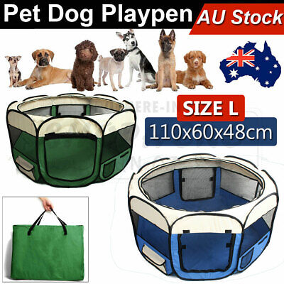 Pet Playpen Puppy Dog Cat Play Pen Crate Cage Enclosure Tent 8 Panel Portable L