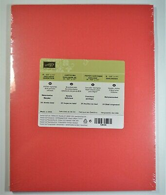 Stampin' Up! WATERMELON WONDER 8 1/2 x 11 card stock NIP Retired coral 24 sheets
