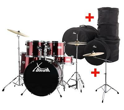 """22"""" Drum Kit Drumset Drums Snare Stand Pedals Cymbals Stands Stool Sticks Bags"""