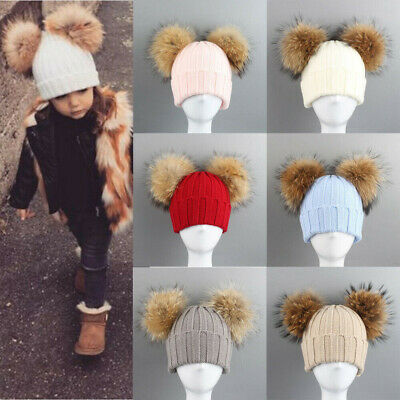Kids Baby Beanie Hat Cap Boys Girls Winter Warm Double Fur Pom Knitted Bobble