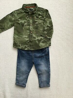 Baby Boys 6-9 Months Outfit Next, Tu Camouflage Shirt, Jeans Combined Postage