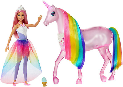 Barbie FXT26 Dreamtopia Magical Lights Unicorn with Lights and Sounds and Barbie