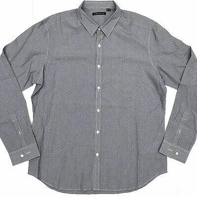 Theory Mens XL Extra Large Black Blue Gingham Check Button Front Dress Shirt
