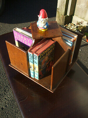 Antique revolving oak miniature bookcase, very useful for CDs and DVDs