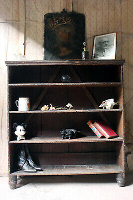 Antique Late Victorian Combwork Decorated Pine Bookcase c.1900