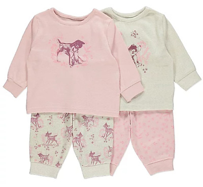 Disney Baby Girls Bambi Thumper Pink Floral Long Sleeved Pyjamas Pack of 2 BNWT