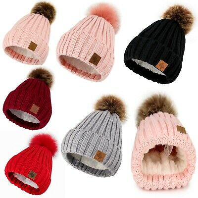 Girl Winter Beanie Hat Kids Girls Hats Knitted Pom Pom Worm Fleece Lining Youth