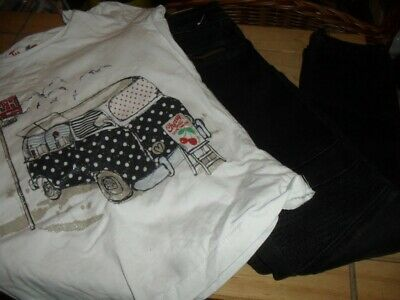 Girls T-Shirt & Black Jeans Age 6-7 Years , Tu , Primark - Used