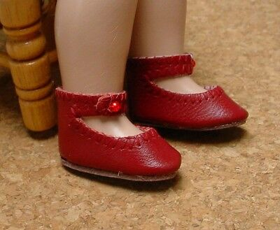 Doll Shoes 41mm WHITE Leather Ankle Straps fit *Global Bleuette