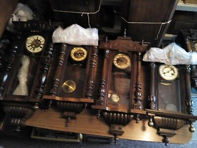 Joblot of 7 Large Antique Vienna Clocks All Working Good Conditon