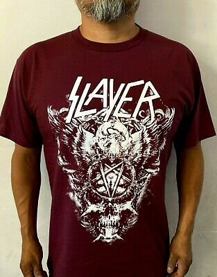 SLAYER BIG SKULL METAL ROCK BURGUNDY MEN's T SHIRT SIZES