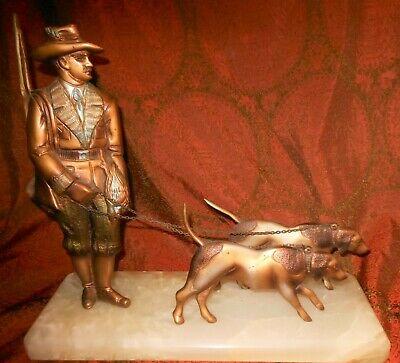 Great Antique Art Deco Cold Painted Bronze Hunter & Spaniels Group On Alabaster