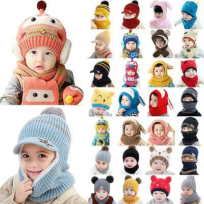 2Pcs Toddler Kids Boys Girls Baby Winter Warm Beanie Caps Knitted Hat Scarf Sets