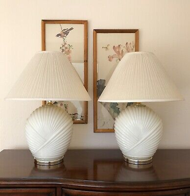 Vintage Hollywood Regency Art Deco Revival Erte Style White Glass & Brass Lamps