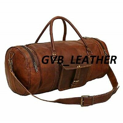 Leather Men Love To Travel Luggage Gym New Duffle Bag Brown Genuine Vintage Bag