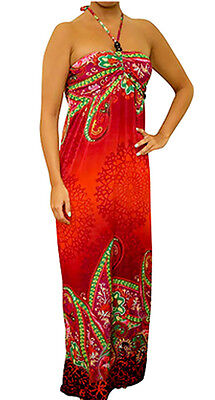 D3T Red Multi-color MAXI Long DRESS Halter Beach Cocktail Casual Summer S M L XL