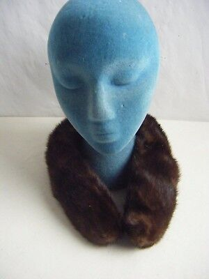 "Vtg Chestnut Brown Maren MInk Short Collar w/Loop & Clasp- 27"" Long(F5)"