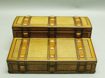 Museum Quality 19th C. ENGLISH INLAID Wicker & Rare Wood Lap Desk  c. 1880 box