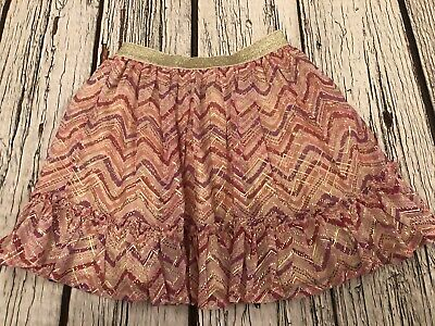 9-10 Years Girls Monsoon Pink & Gold Lined Party Skirt Looks Unworn