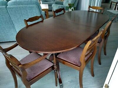 Mahogany Extendable Dining Table and 6 Chairs. Georgian Antique Style