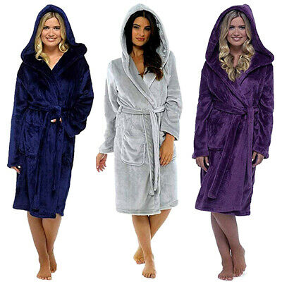 Women Ladies Dressing Gown Hooded Fleece Fluffy Soft Warm Bath Robe Nightw FR