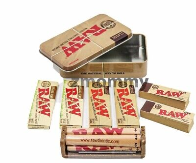 RAW SQUARE TIN + Rolling Machine + 2 Organic Hemp and 2 Classic Papers + 2 Tips