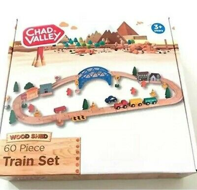 Wooden Train Set  60 Piece With Play Accessories Chad Valley Train Set KIDS GIFT