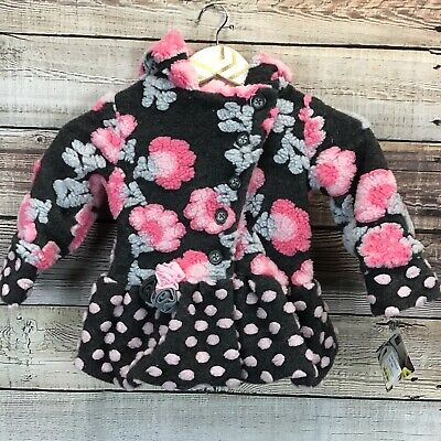 Mack & Co Hooded Coat Girls 18 Mo Gray Pink Floral NWT