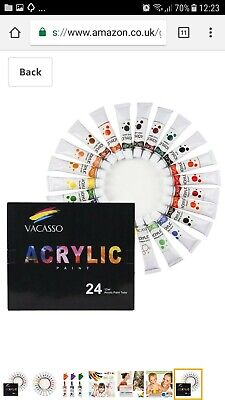Acrylic Paint Set of 24 Colors by VACASSO, Perfect for Painting Canvas, Wood,...