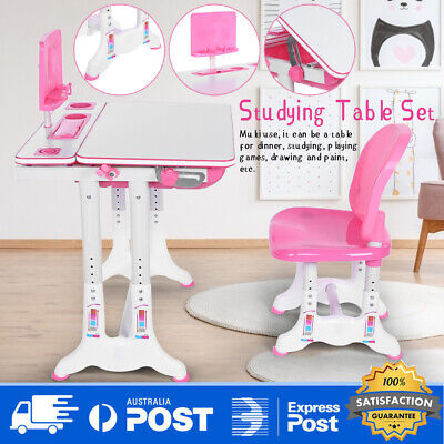 Pink Kids Table and Chair Set Study Desk Lamp Children Writing Table Adjustable