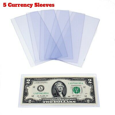 5 Semi-Rigid  Money Protector Currency Sleeve US Dollar Bill Case Holder