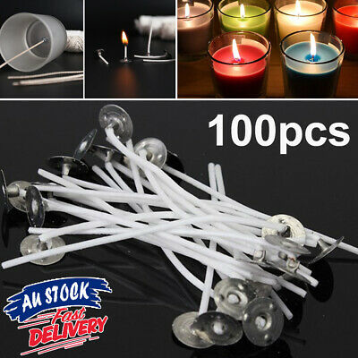 100pcs Core Cotton candle wicks Waxed Wick Low Pre AU Smoke Sustainers Tabs with