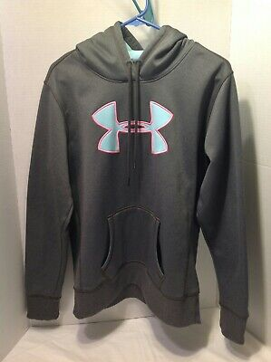 Under Armour Loose Cold Gear Storm Pullover Hoodie Gray Pink Blue Size Medium