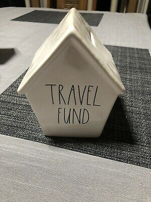 NEW Rae Dunn TRAVEL FUND Birdhouse Shaped Piggy Bank