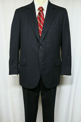 BROOKS BROTHERS Vintage 3/2 roll sack Suit Navy Stripe  44 Trad Ivy League