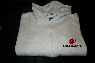 Checkmate Knight Boat XL  Embroidered Hooded Sweatshirt Full Zip Gray