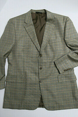 JOS A BANK Signature Collection Silk Blend Sport Coat 46L Plaid Blazer Jacket