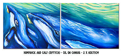 DEBORAH BROUGHTON ART Original Oil Painting Whale with Calf Diptych