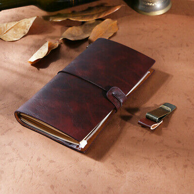 1Pc PU Leather Cover Retro Vintage Diary Journal Notepad with Clips and Carton